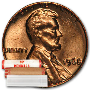 1968 Lincoln Cent 50-Coin Roll BU