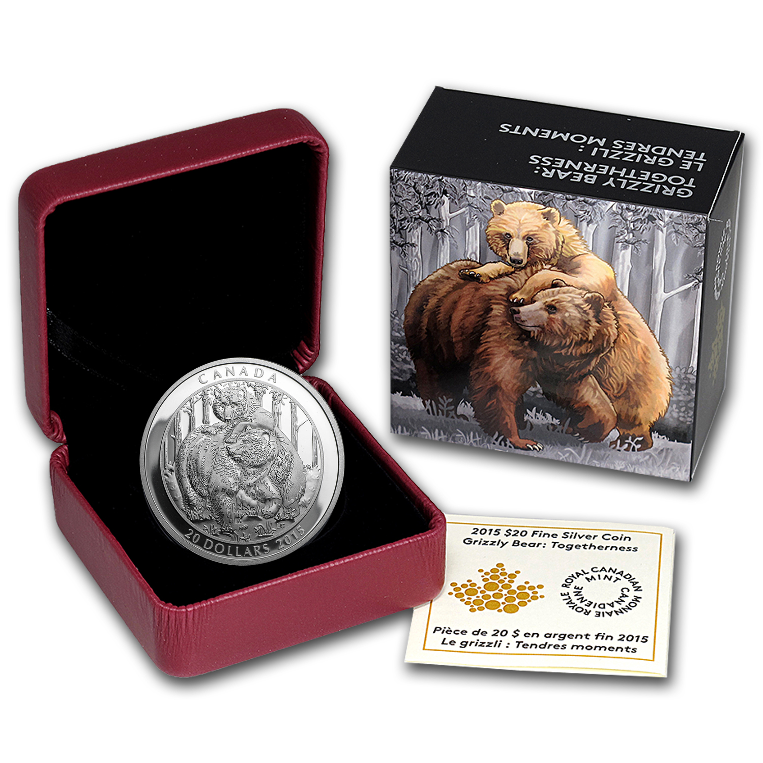 2015 Canada 1 oz Silver Grizzly Bear Togetherness
