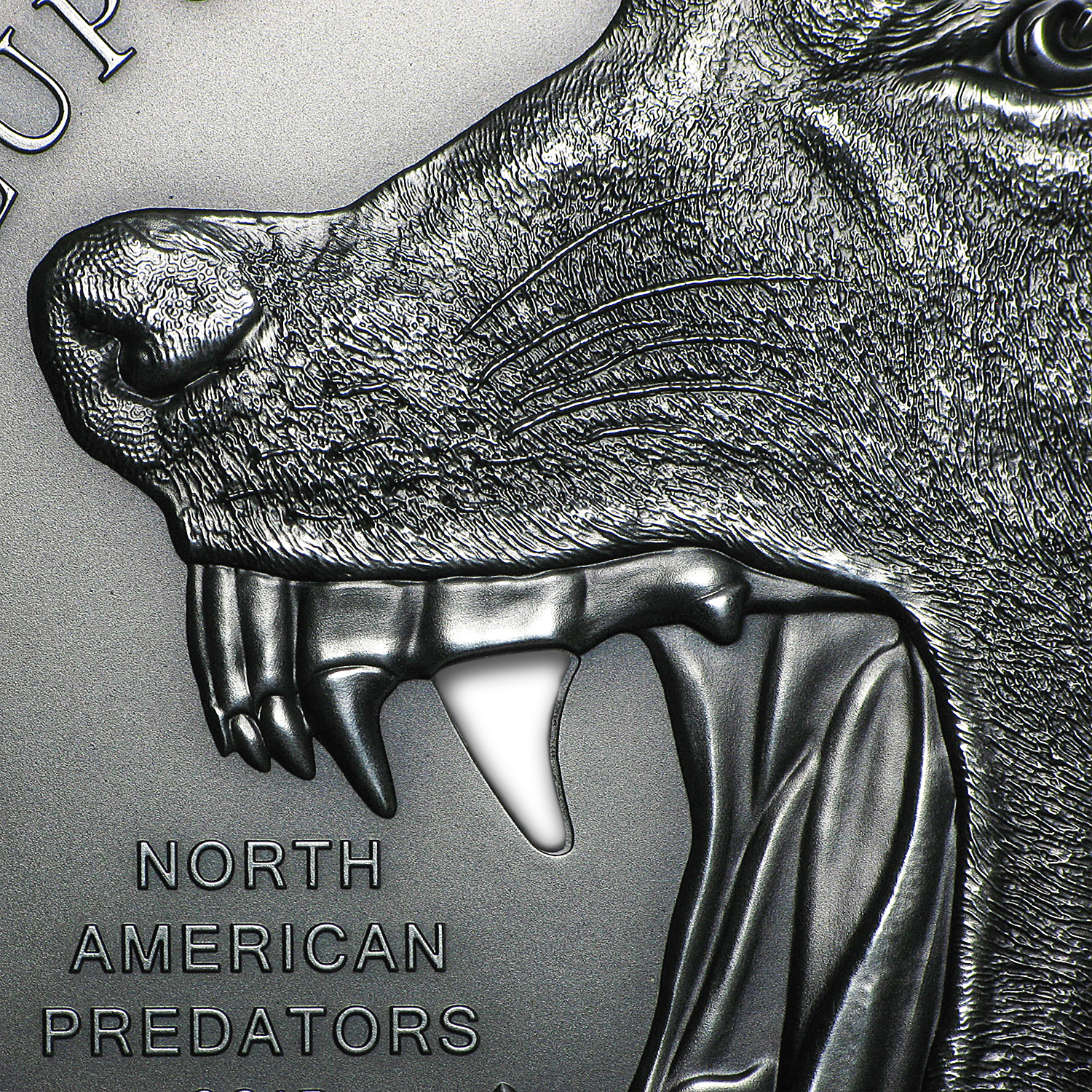 2015 Cook Islands 2 oz Silver North American Predators Gray Wolf