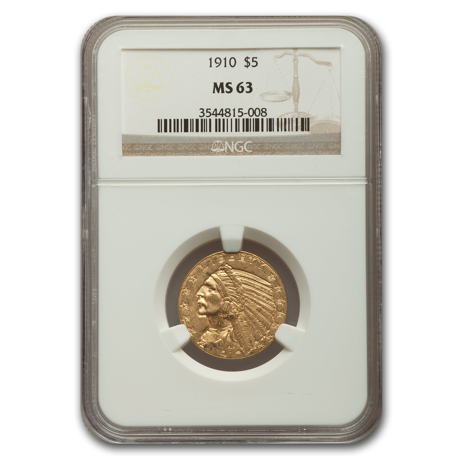 1910 $5 Indian Gold Half Eagle MS-63 NGC