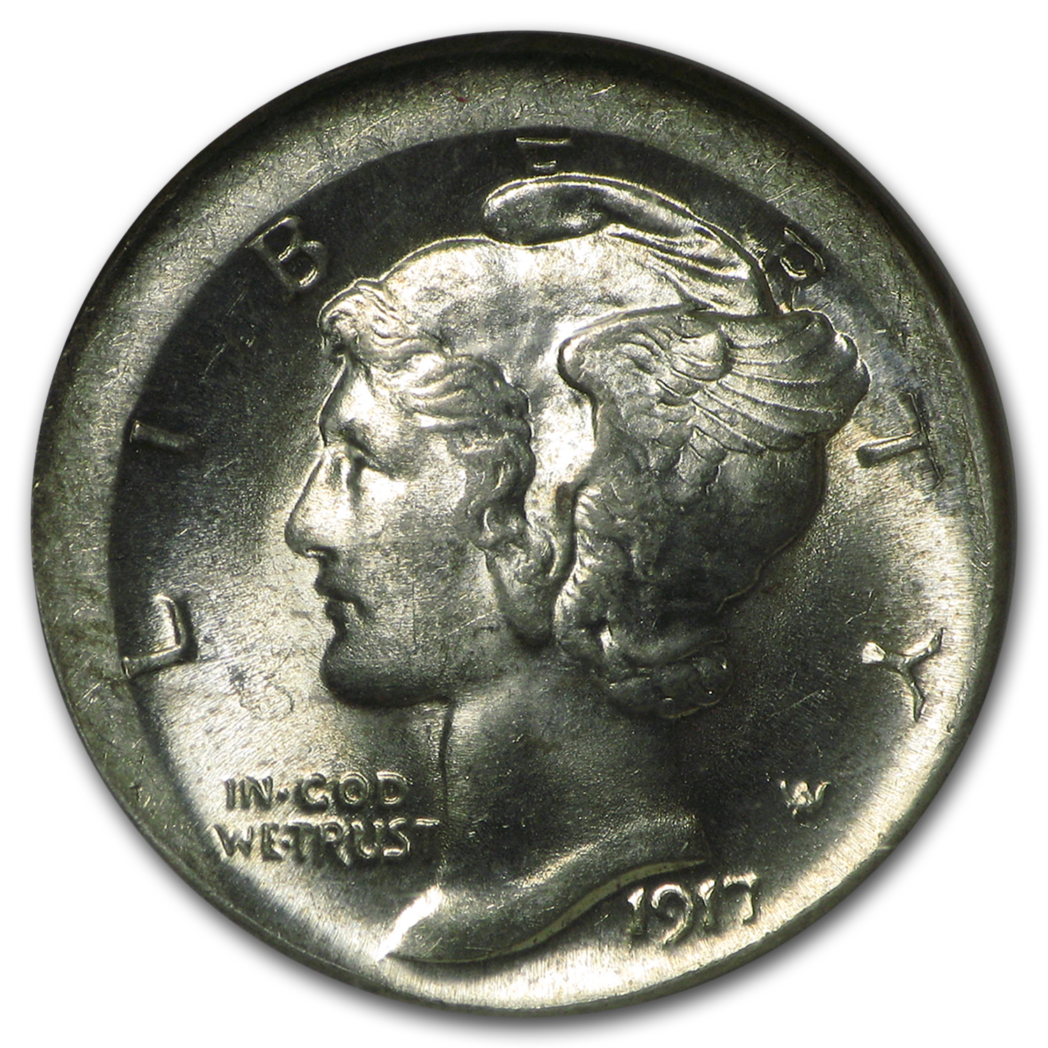 1917 Mercury Dime MS-63 NGC (FB, Broadstruck)