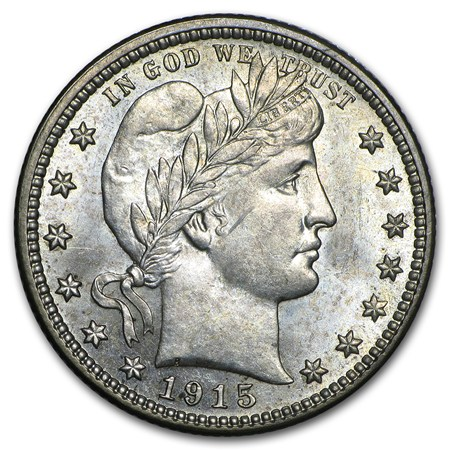 1915-D Barber Quarter Uncirculated - Gold and Silver