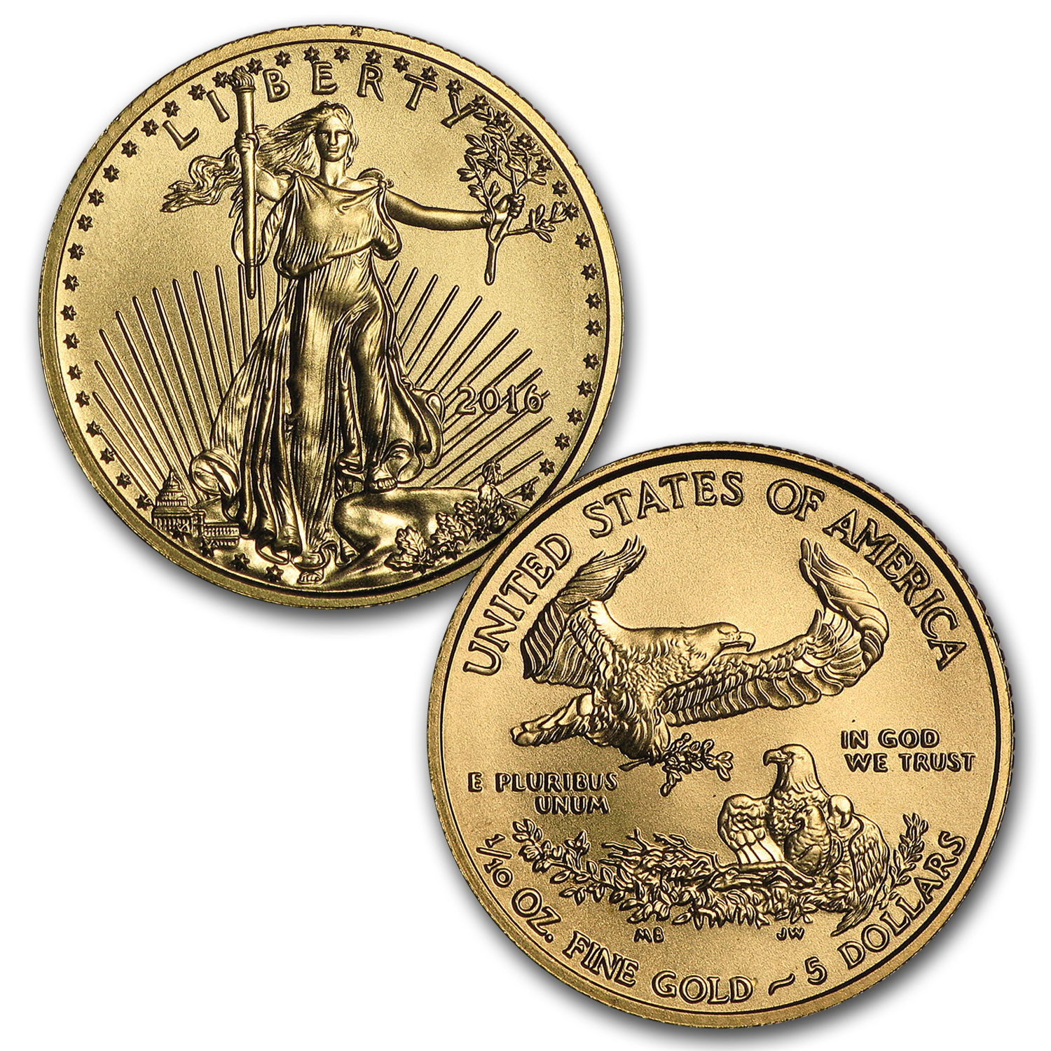 2016 4-Coin Gold American Eagle BU Set