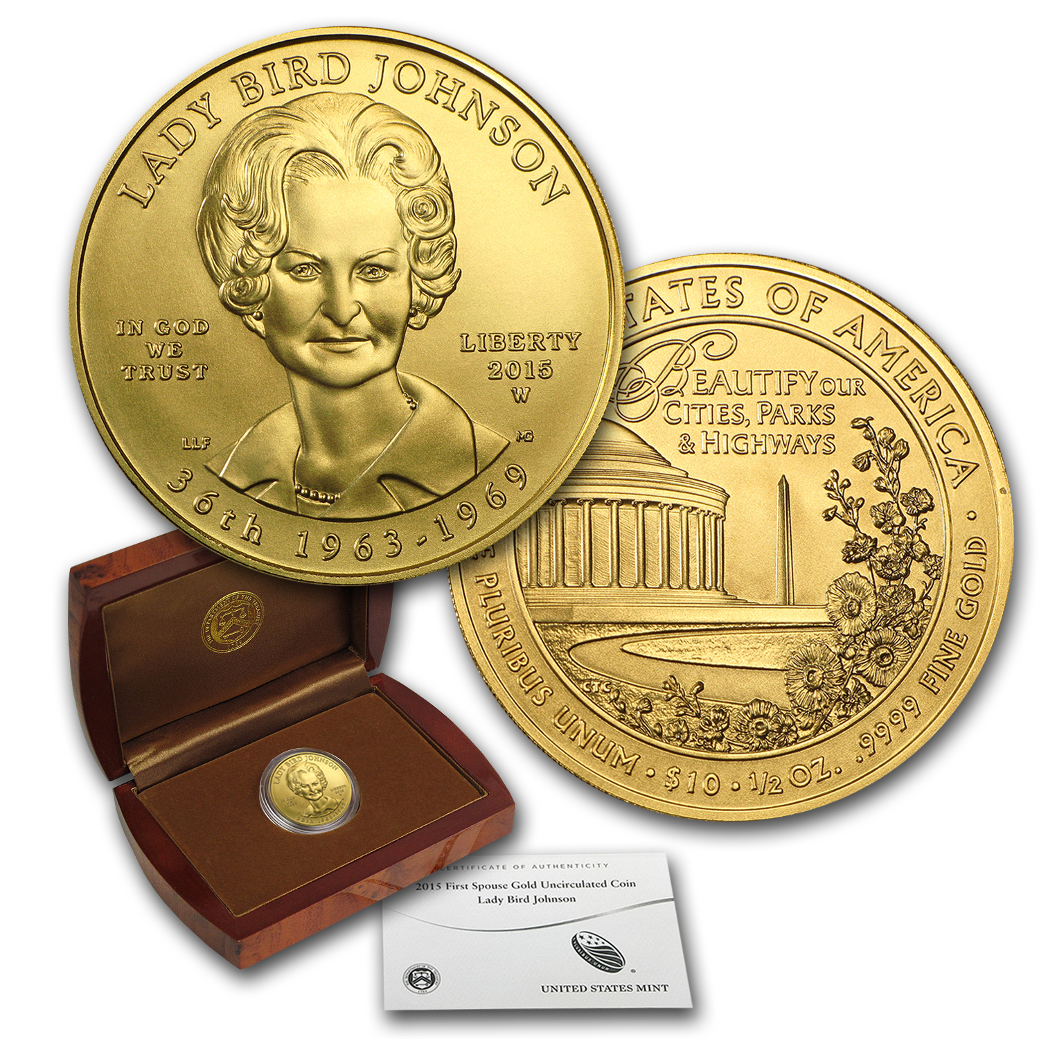 2015-W 1/2 oz Gold Lady Bird Johnson BU (w/Box & COA)