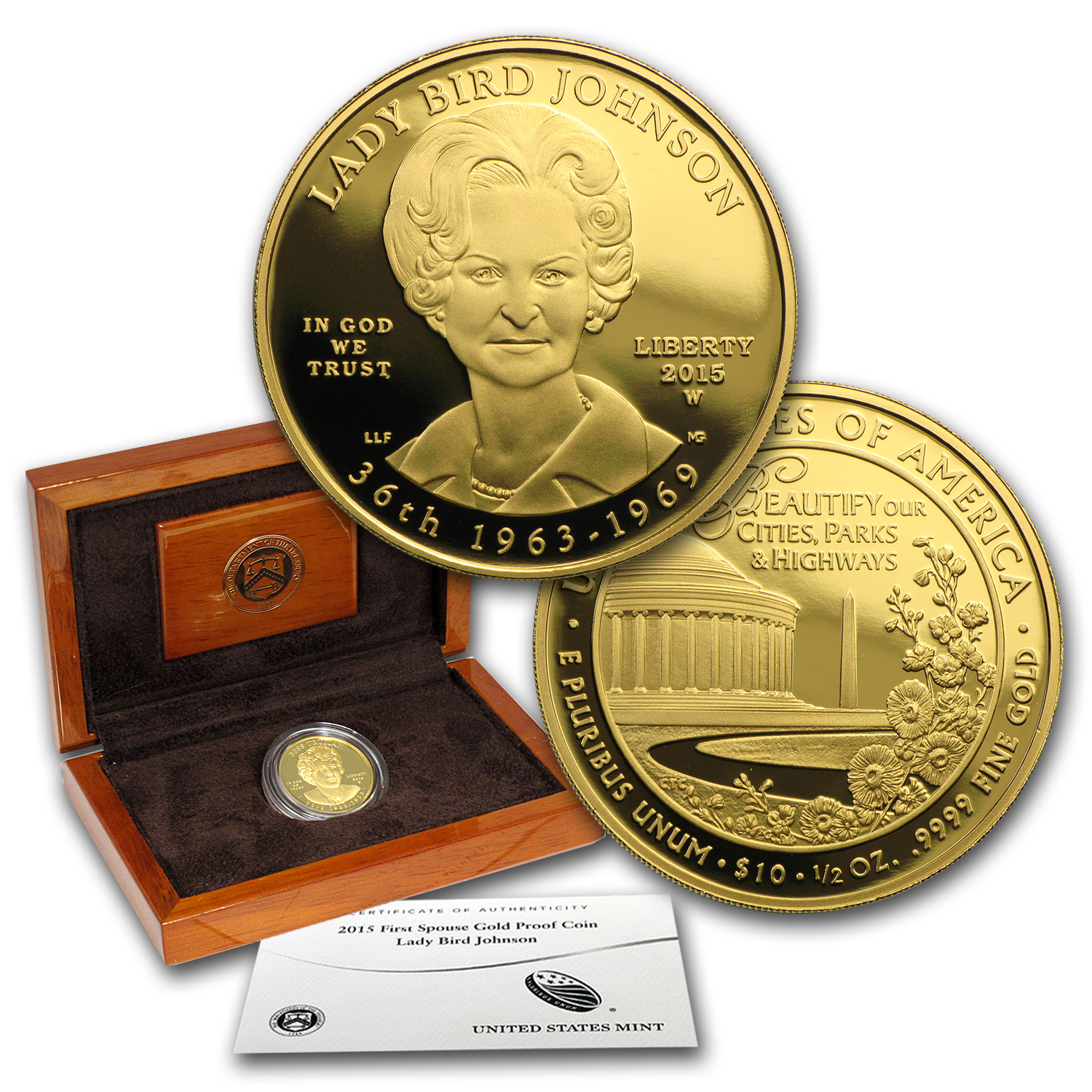 2015-W 1/2 oz Proof Gold Lady Bird Johnson (w/Box & COA)