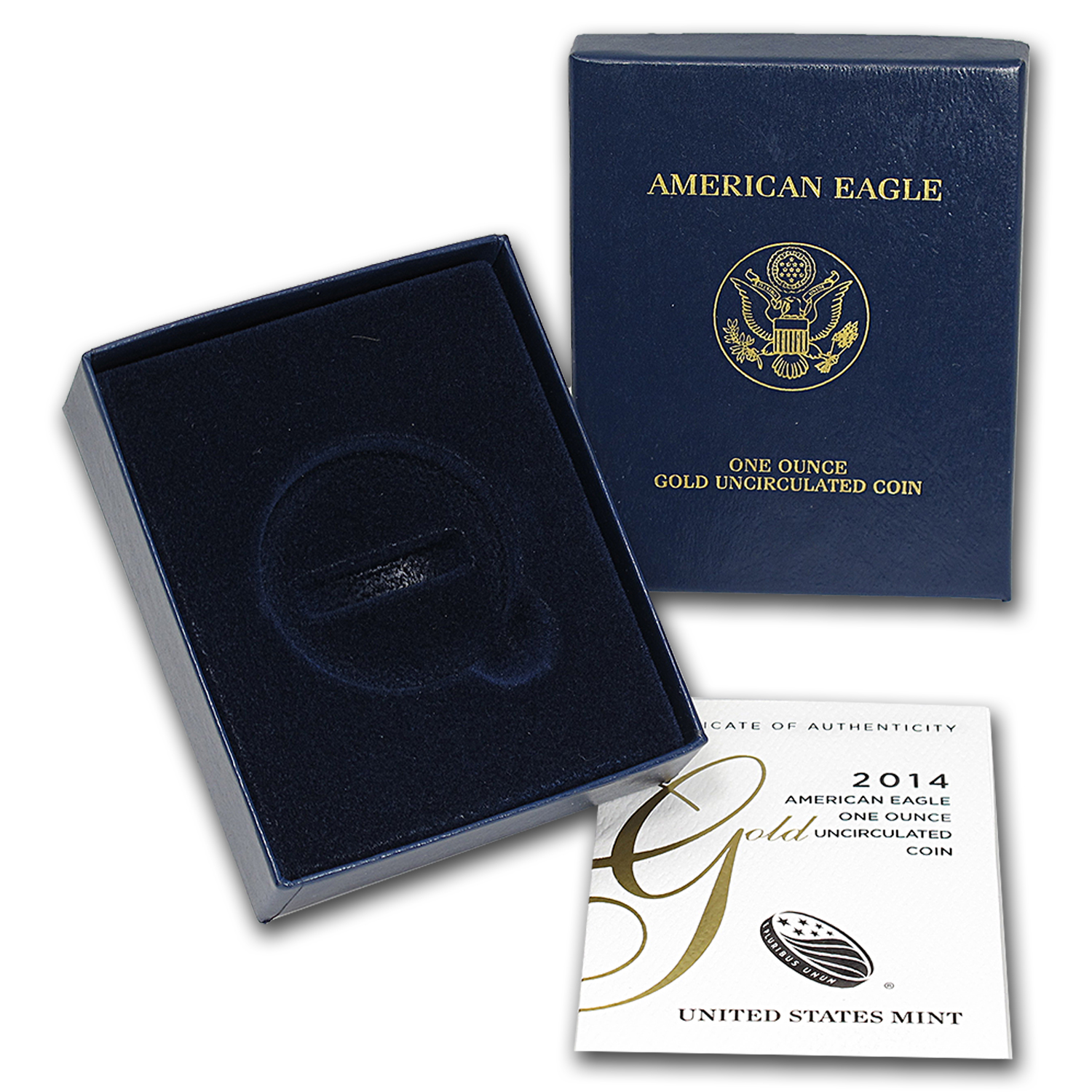OGP Box & COA - 2014-W 1 oz Burnished Gold Eagle