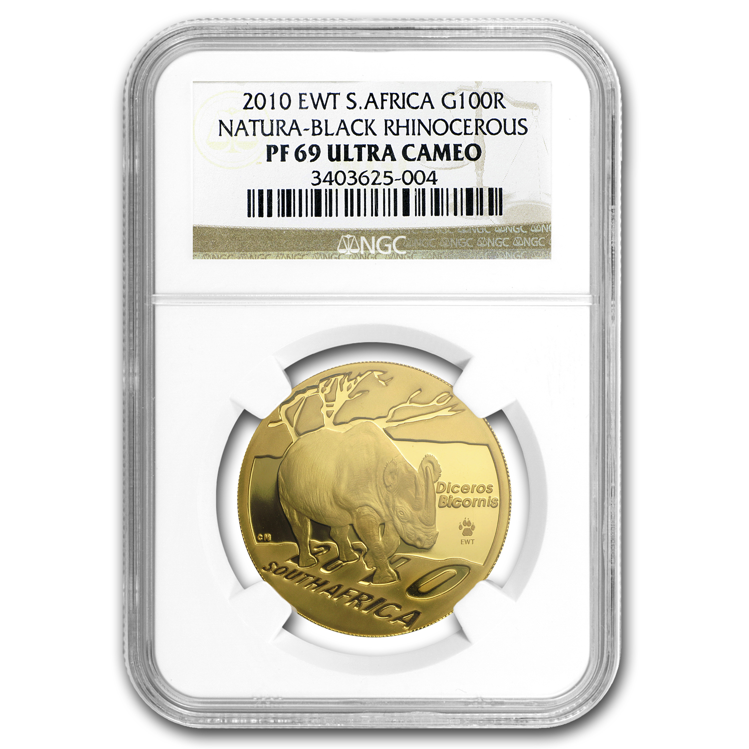 2010 So.Africa 1 oz Gold Natura Black Rhino EWT PF-69 NGC