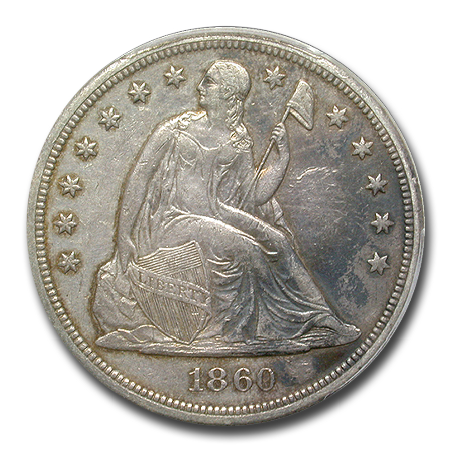 1860 O Liberty Seated Dollar Au 53 Pcgs Gold Silver Prices