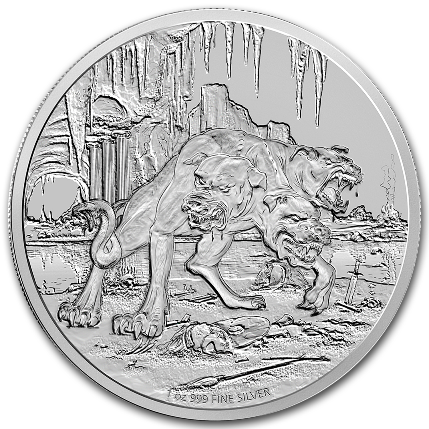 2015 Niue 1 oz Silver $2 Creatures of Greek Mythology Cerberus