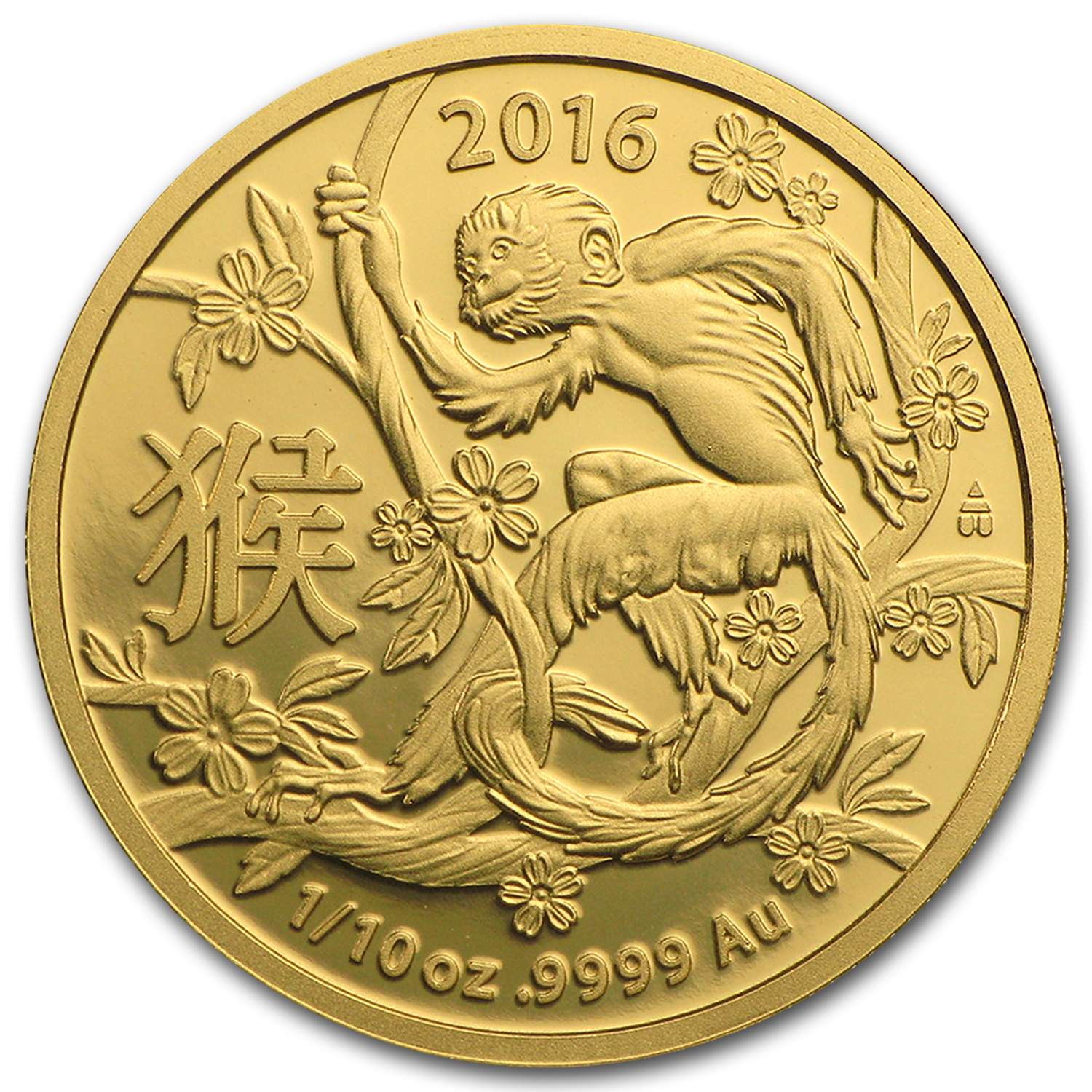 2016 Australia 1/10 oz Gold Lunar Year of the Monkey BU (RAM)