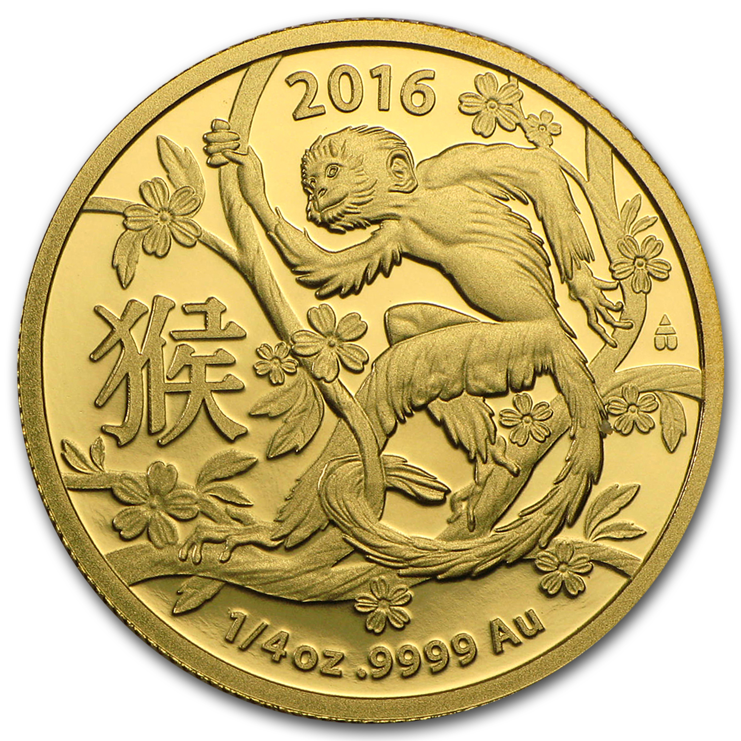 2016 Australia 1/4 oz Gold Lunar Year of the Monkey BU (RAM)