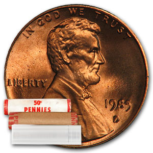 1985-D Lincoln Cent 50-Coin Roll BU
