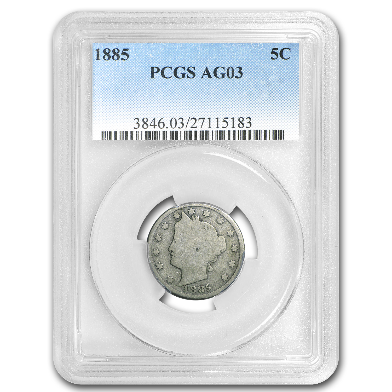 1885 Liberty Head V Nickel AG-03 PCGS