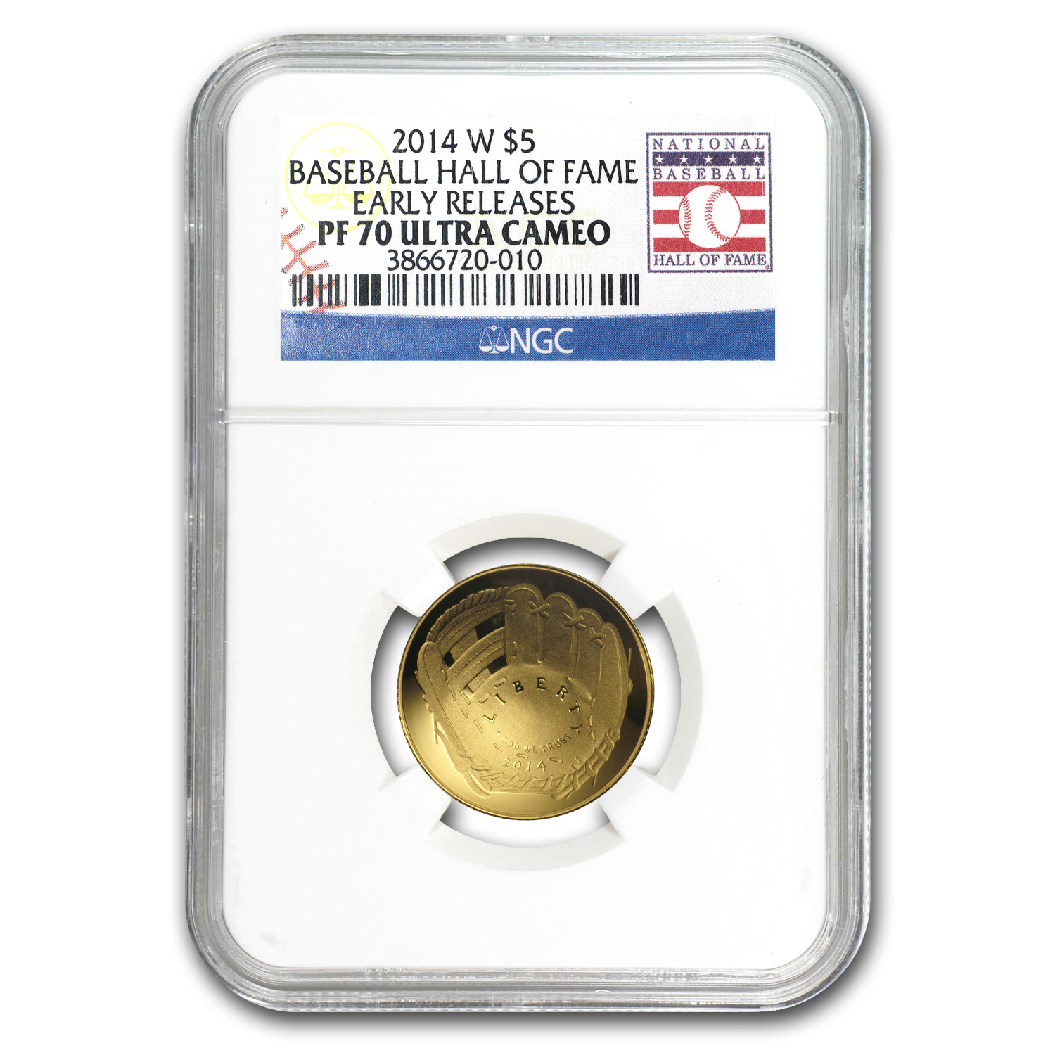 2014-W Gold $5 Commem Baseball HOF MS-70 NGC (ER)