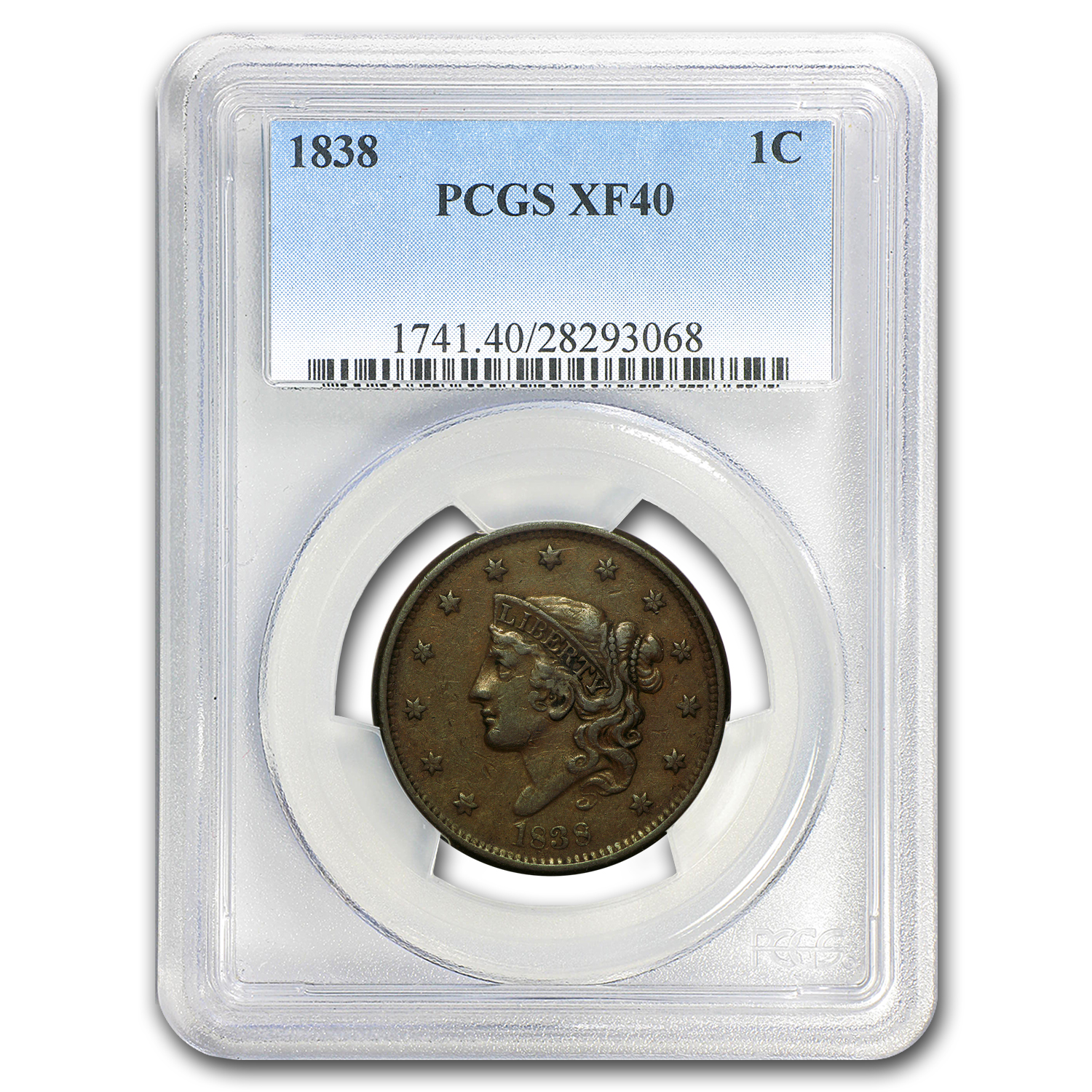 1838 Large Cent XF-40 PCGS