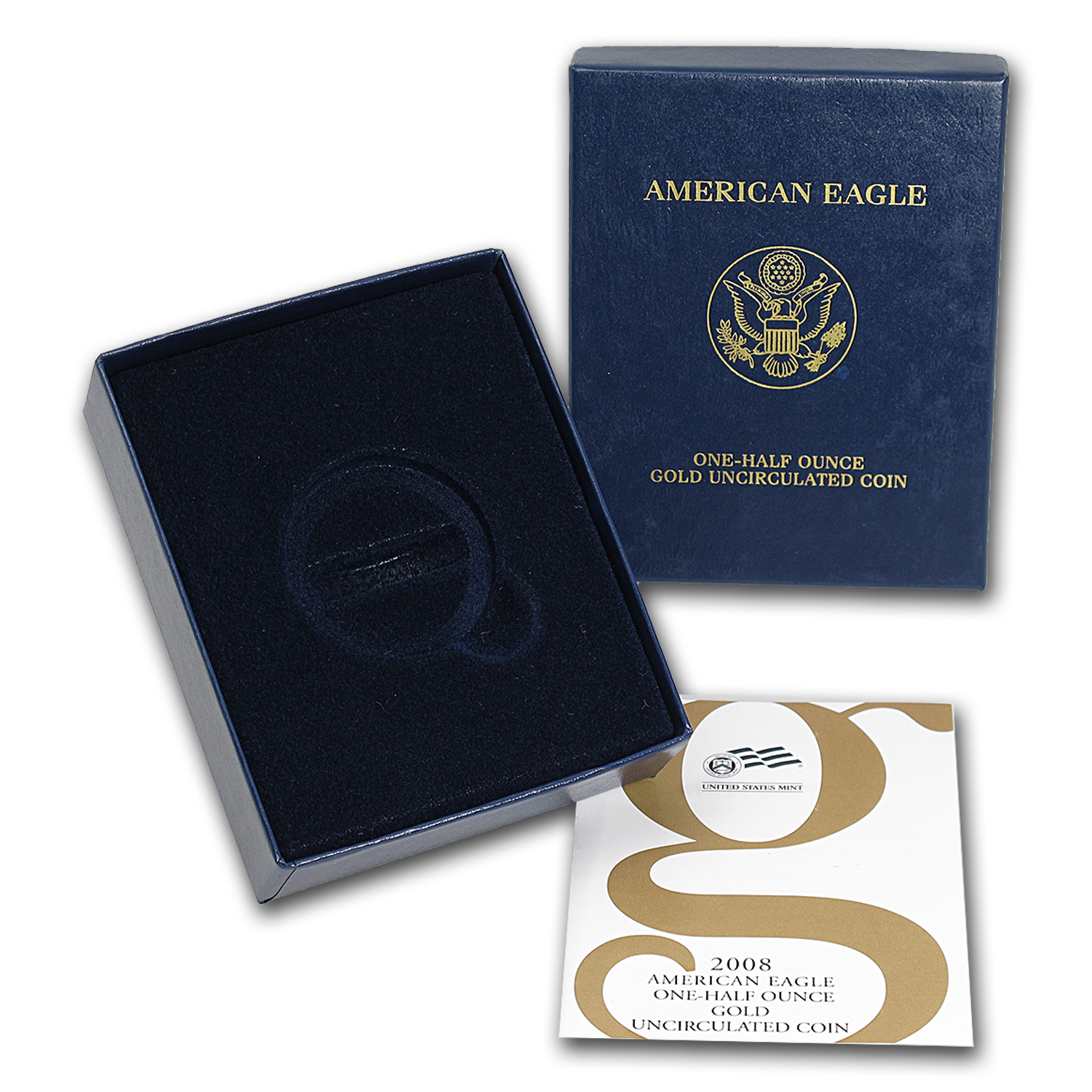 OGP Box & COA - 2008 (W) 1/2 oz Burnished Gold American Eagle