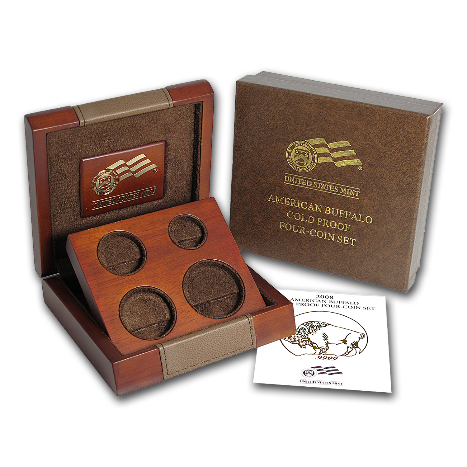 OGP Box & COA - 2008-W 4-Coin Proof Gold Buffalo Set