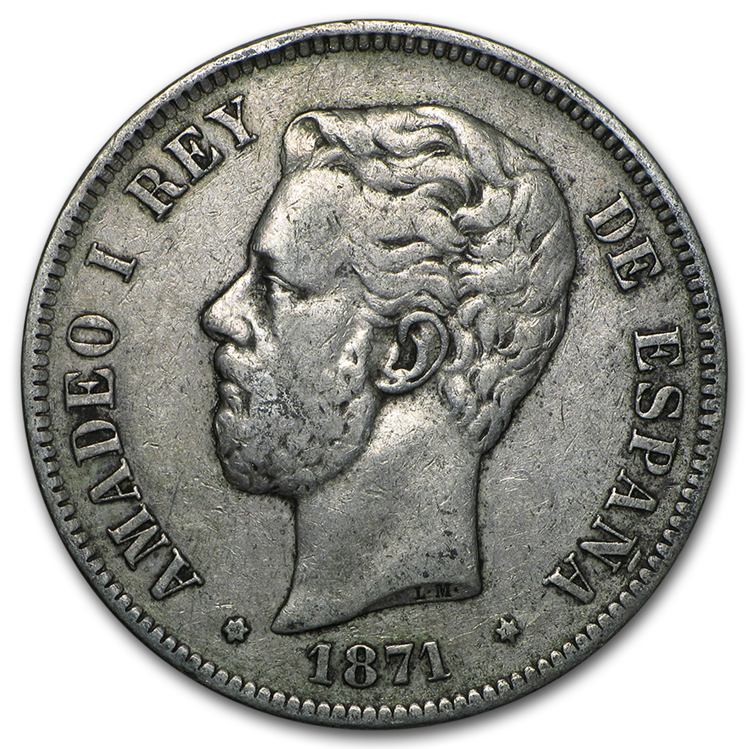 1871-1875 Spain Silver 5 Pesetas Amadeo I Average Circulated