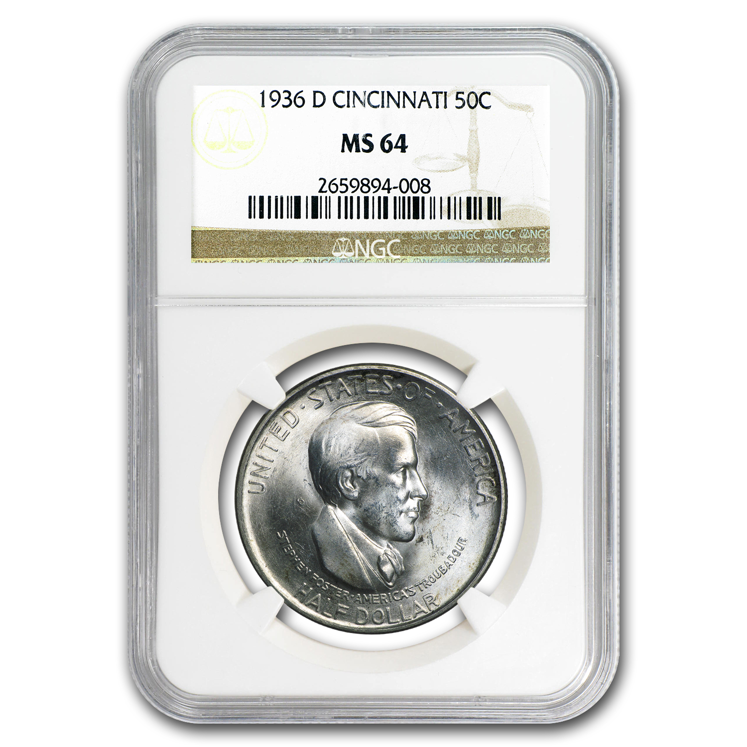 1936-D Cincinnati Music Center Half Dollar MS-64 NGC