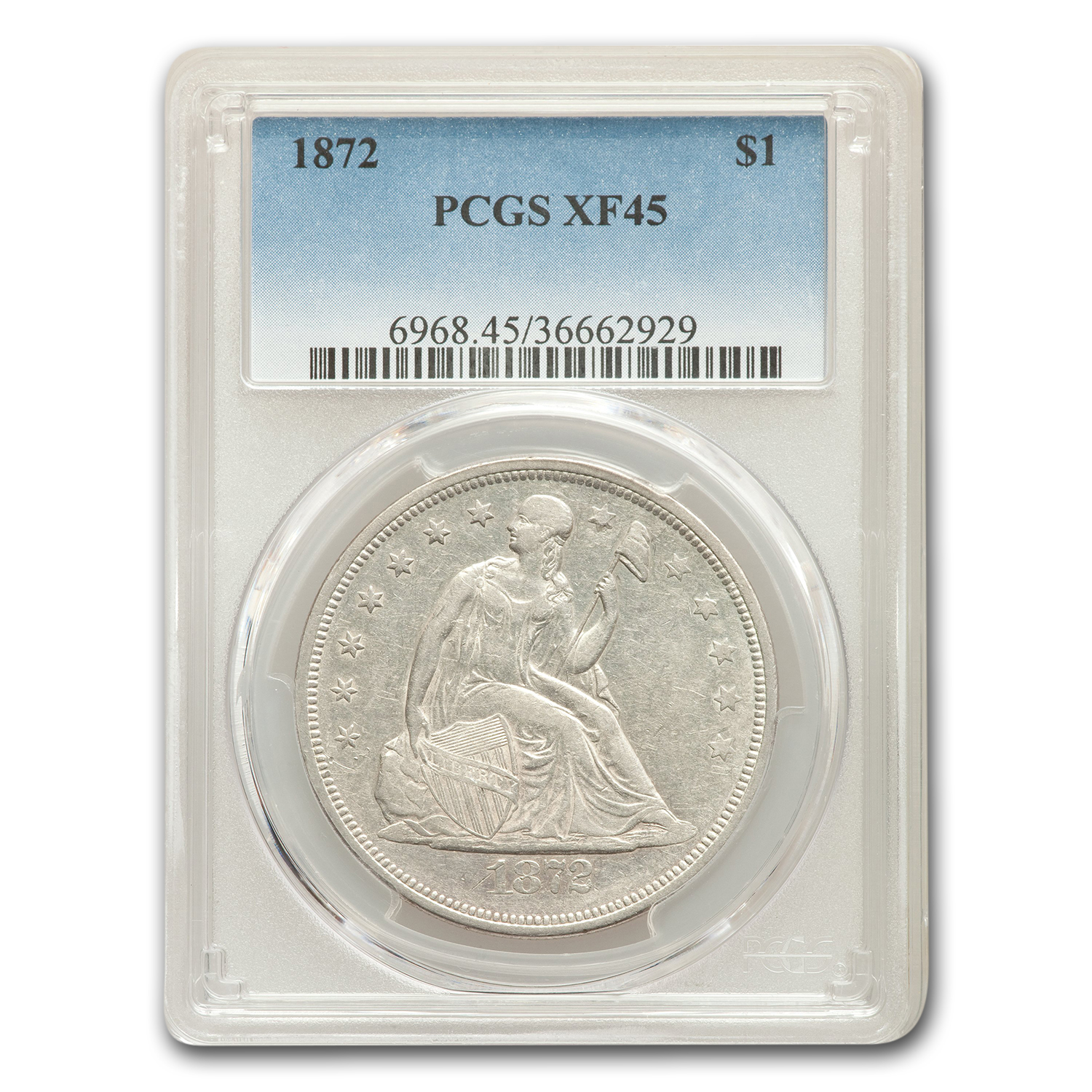 1872 Liberty Seated Dollar XF-45 PCGS