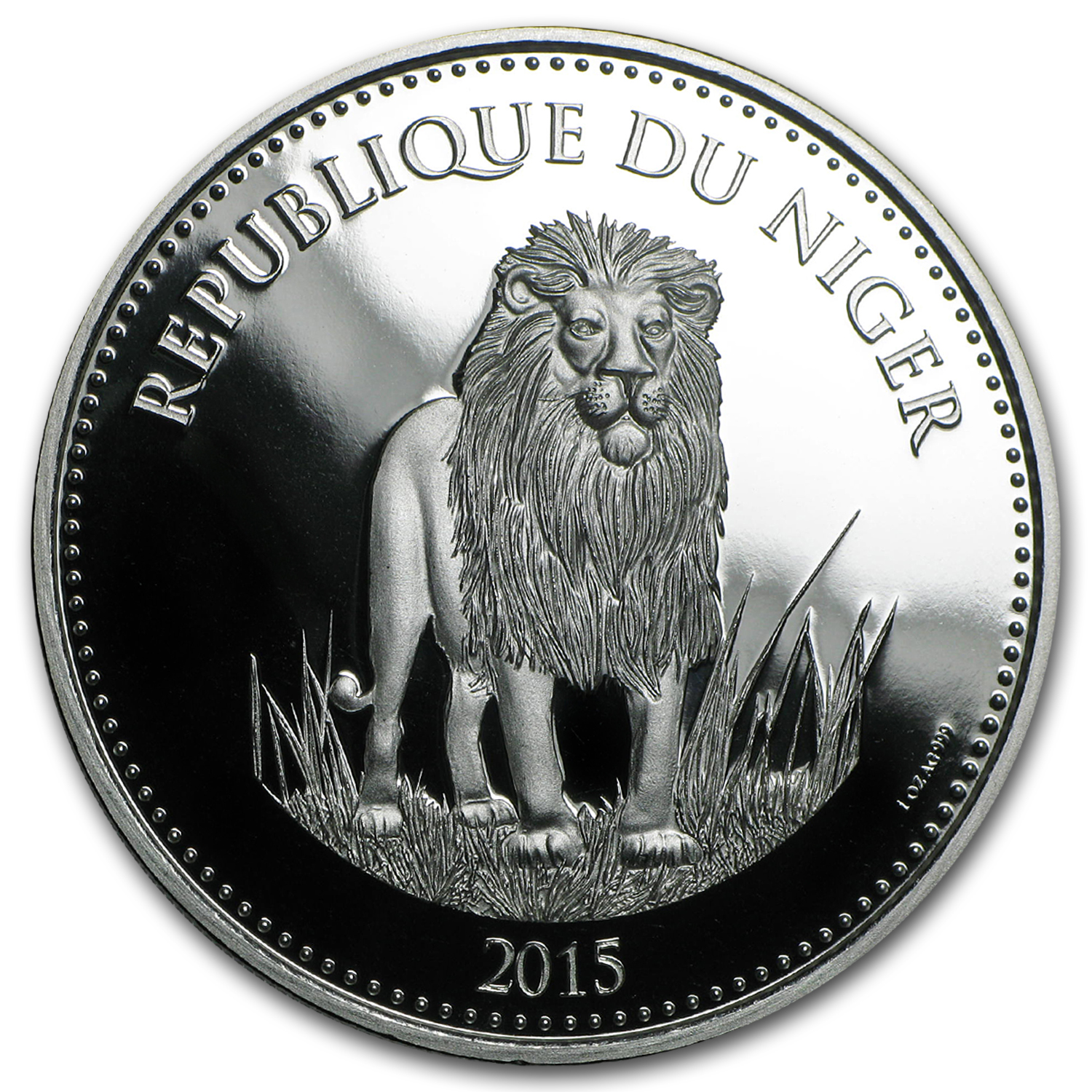2015 Niger 1,000 Francs 1 oz Silver Lion Prooflike