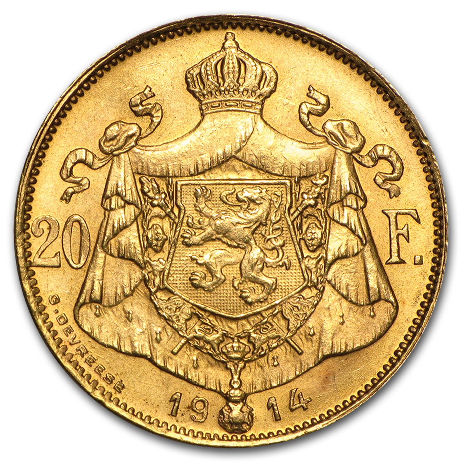 1914 Belgium Gold 20 Francs Albert I AU (French Inscription)