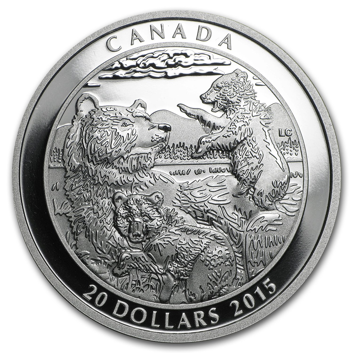 2015 Canada 1 oz Silver Grizzly Bear Family