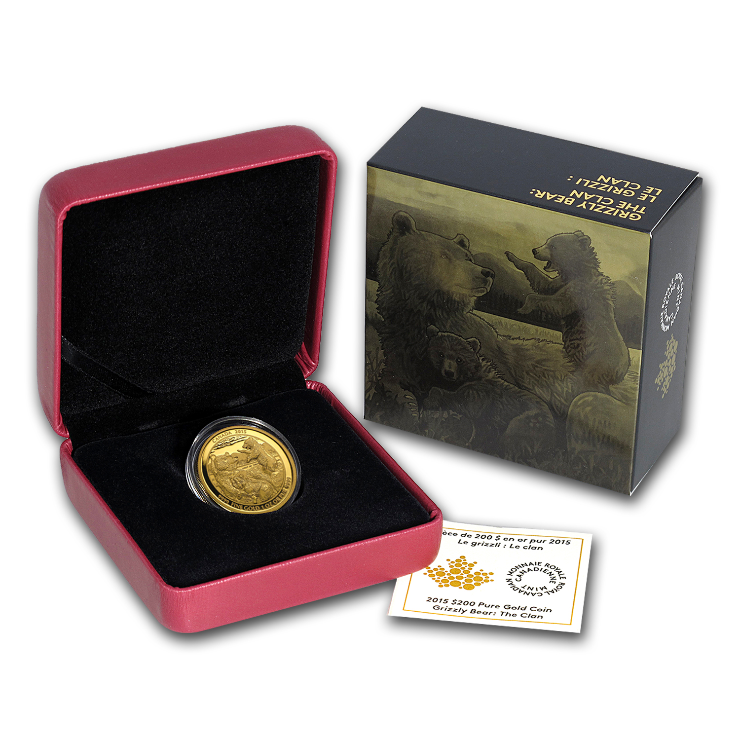 2015 Canada 1 oz Proof Gold $200 Grizzly Bear Clan