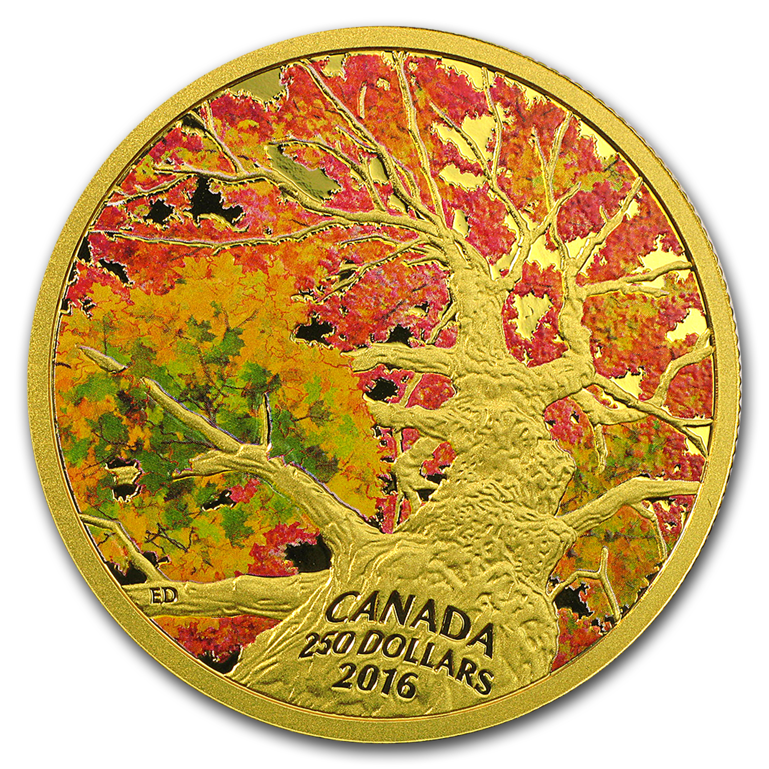 2016 Canada 2 oz Gold $250 Maple Canopy: Kaleidoscope of Color
