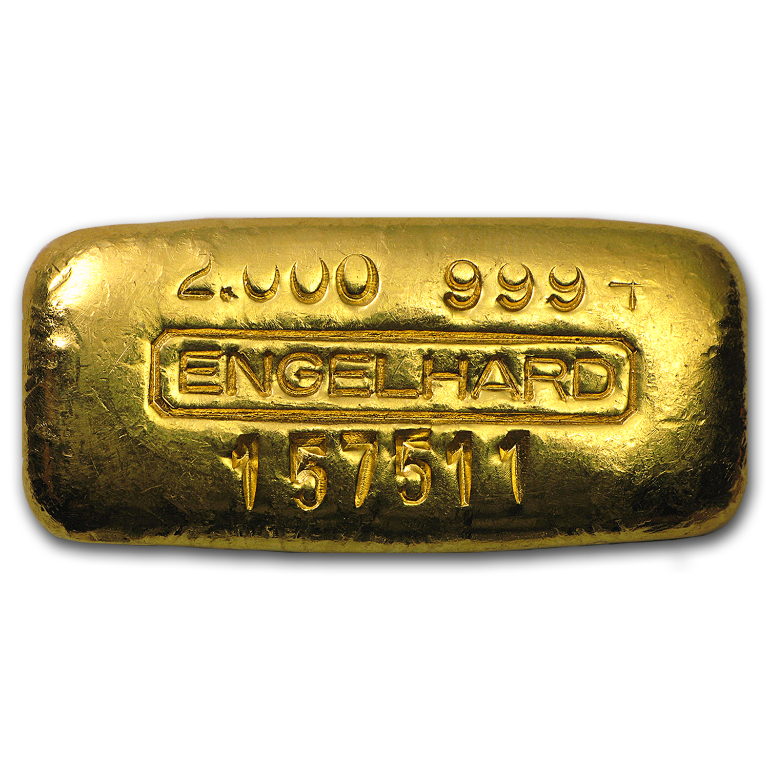 2 oz Gold Bar - Engelhard (Poured/Serial #/.999+ Fine)