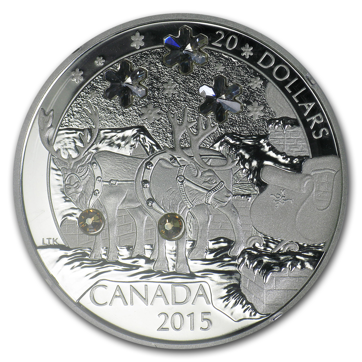 2015 Canada 1 oz Silver $20 Holiday Reindeer