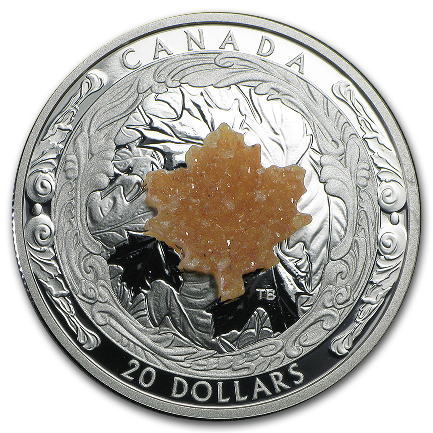 2016 Canada 1 oz Silver $20 Majestic Maple Leaves (w/Drusy Stone)