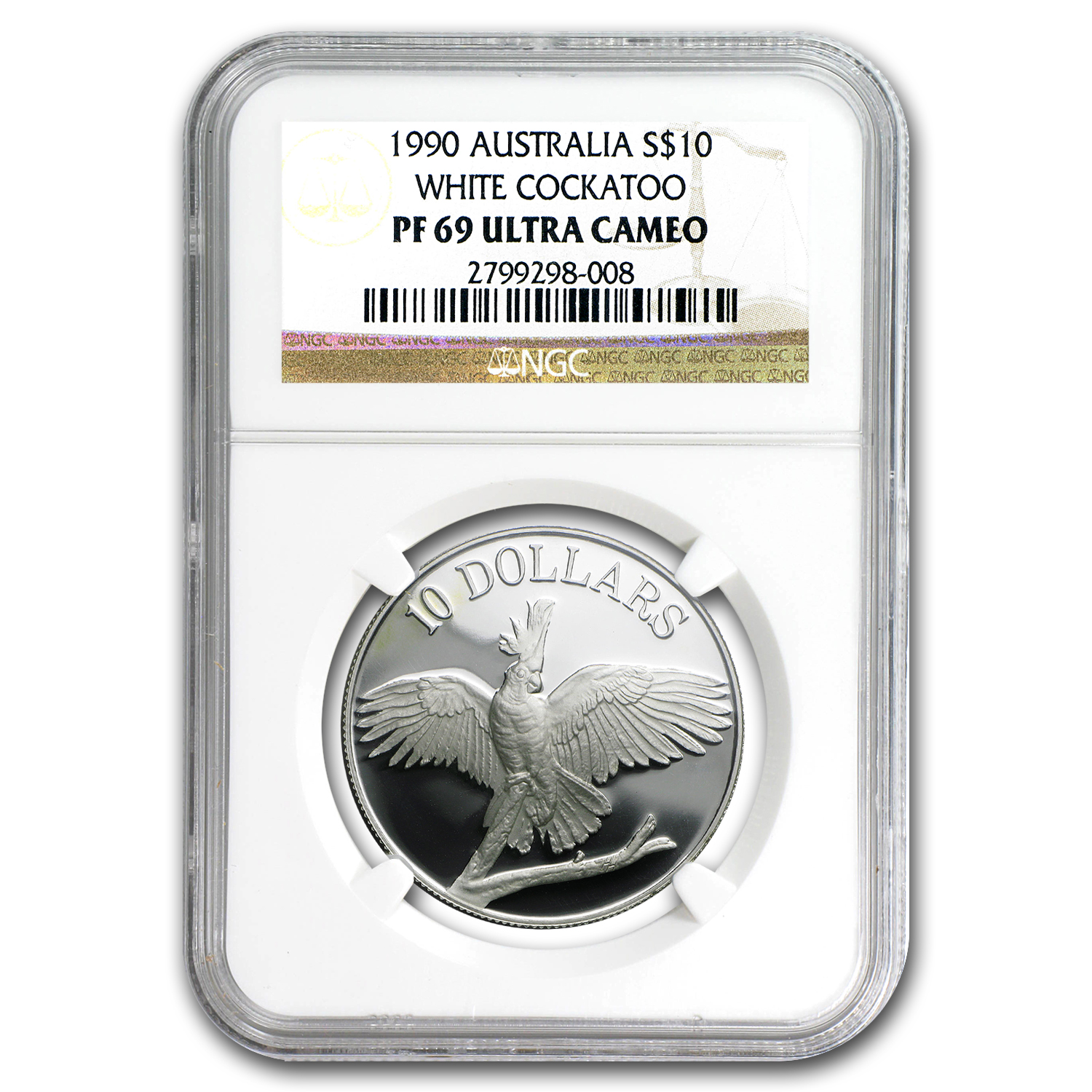 1990 $10 Birds of Australia White Cockatoo PF-69 NGC
