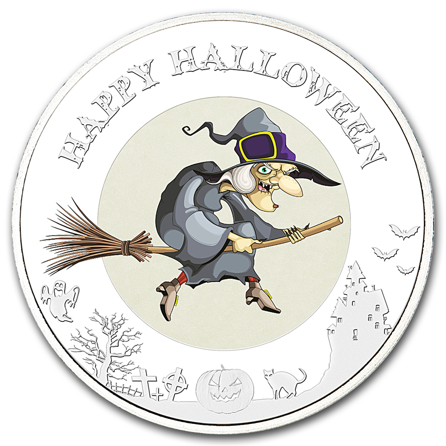2015 Niue Silver Halloween II Glow In The Dark (Witch)