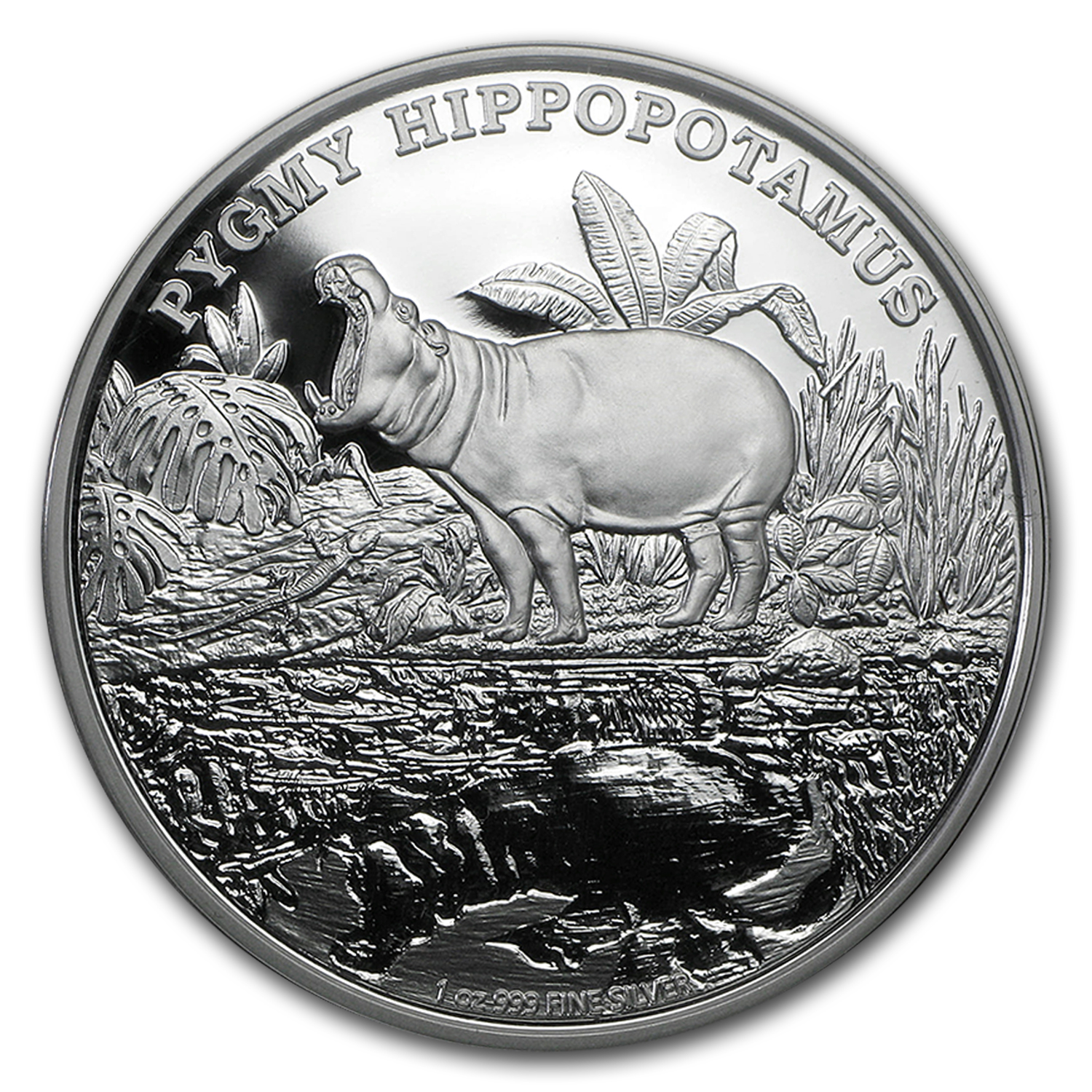 2015 Niue 1 oz Silver Endangered Species Pygmy Hippopotamus