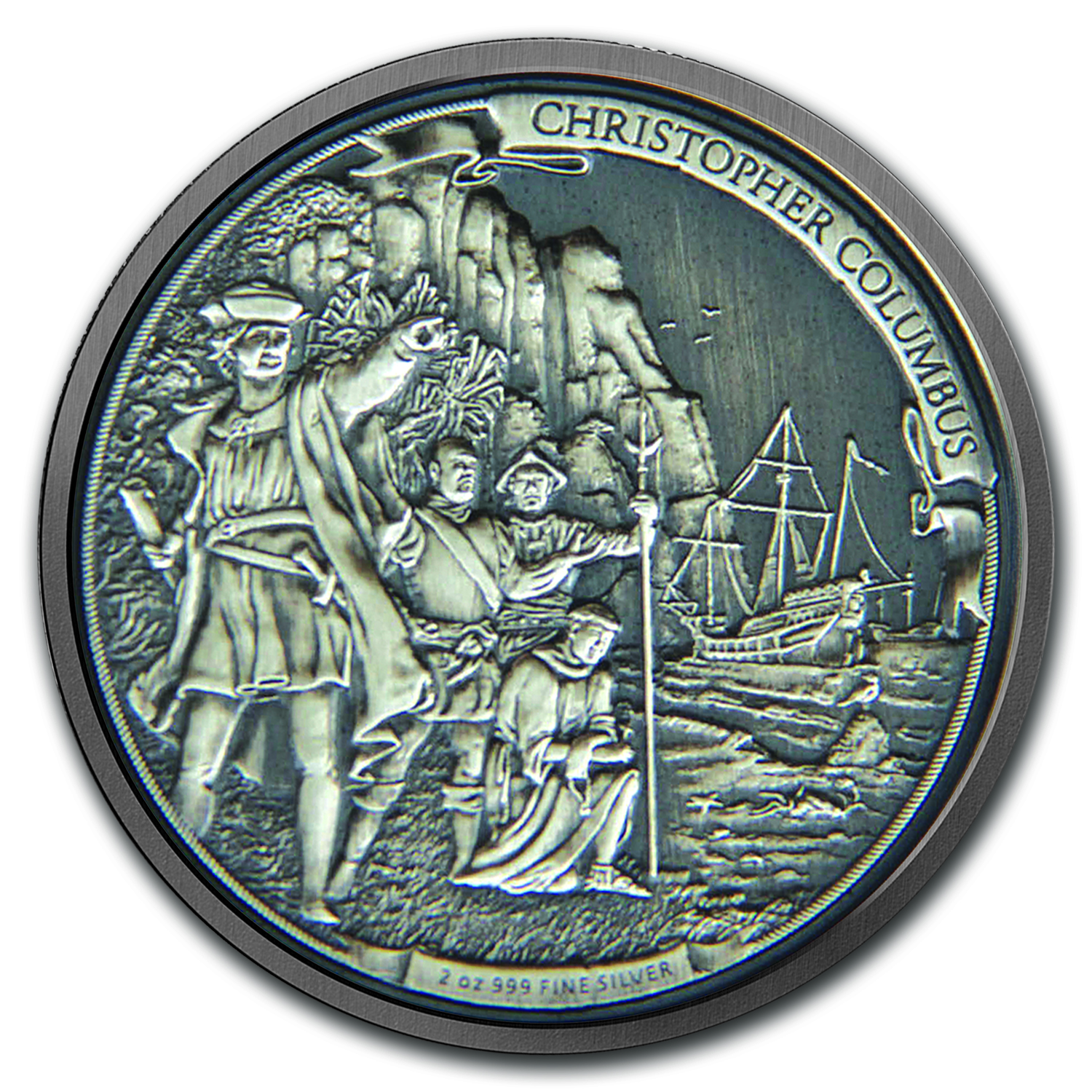 2015 Niue 2 oz Silver $5 Christopher Columbus HR (w/Box & COA)