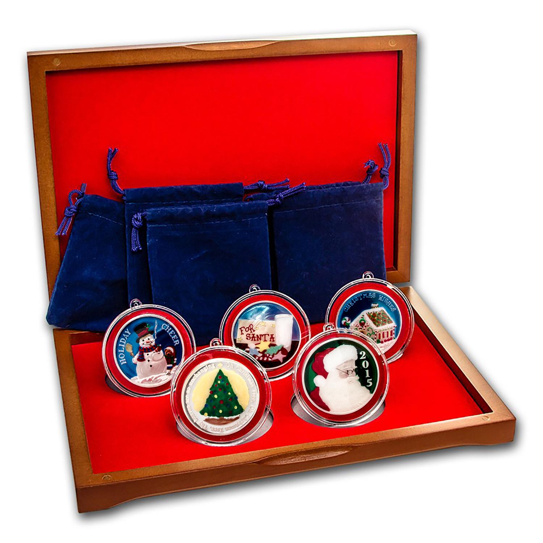 2015 Christmas 5 Coin Silver Round Enameled Set 2015