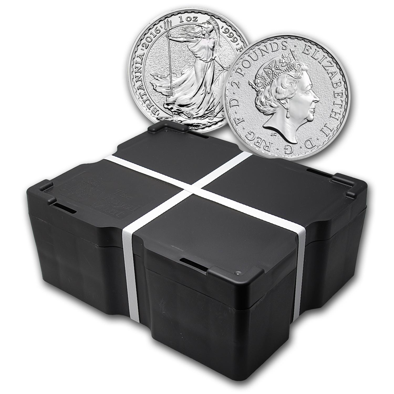 500 Oz Silvers: 2016 500-Coin 1 Oz Silver Britannia Monster Box BU
