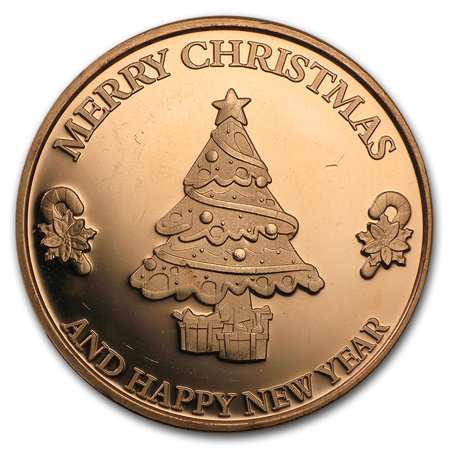 1 oz Copper Round - Merry Christmas