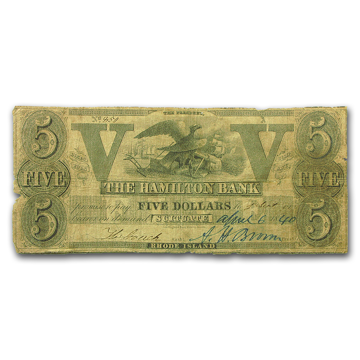 1840 Hamilton Bank of Scituate, RI $5.00, VG Haxby RI-440