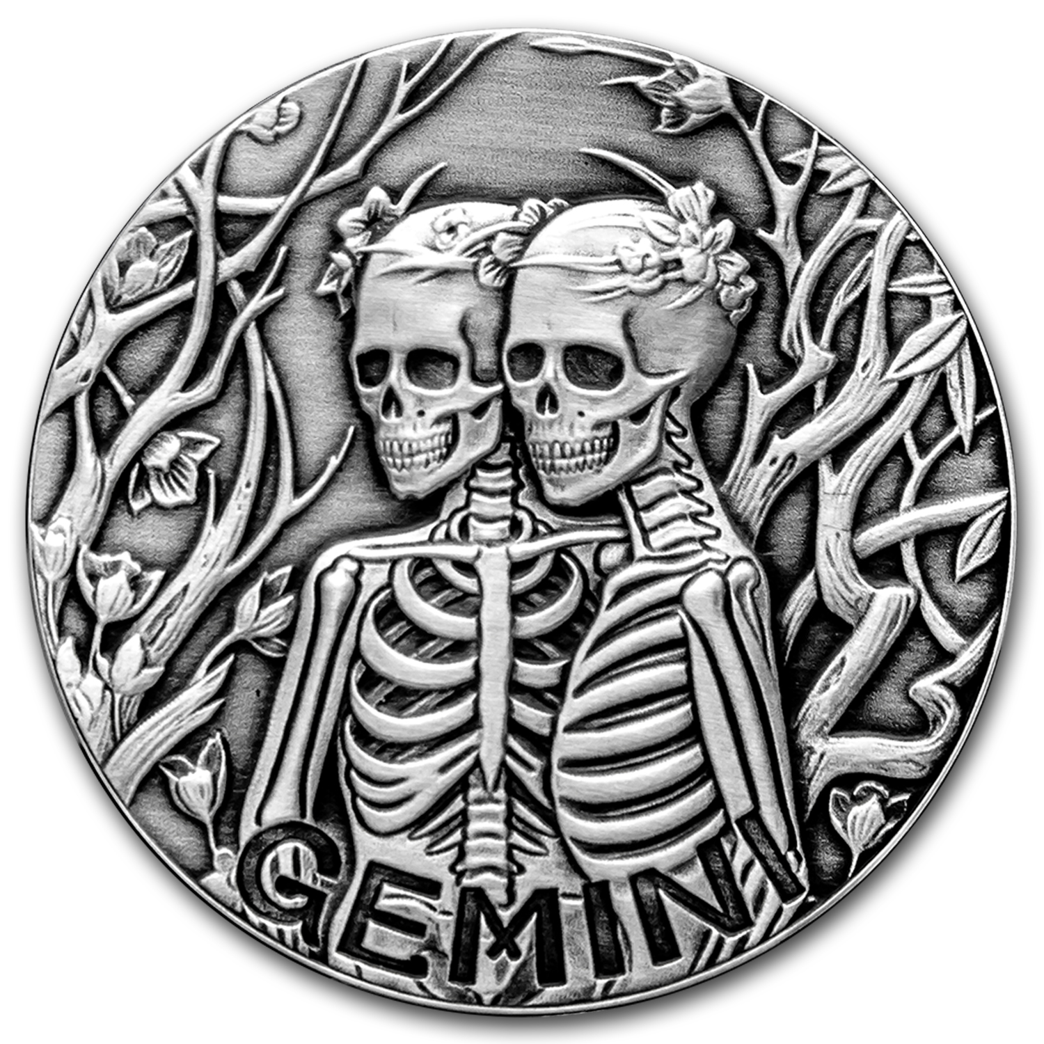 1 oz Silver Antique Round - Zodiac Skull Series (Gemini)