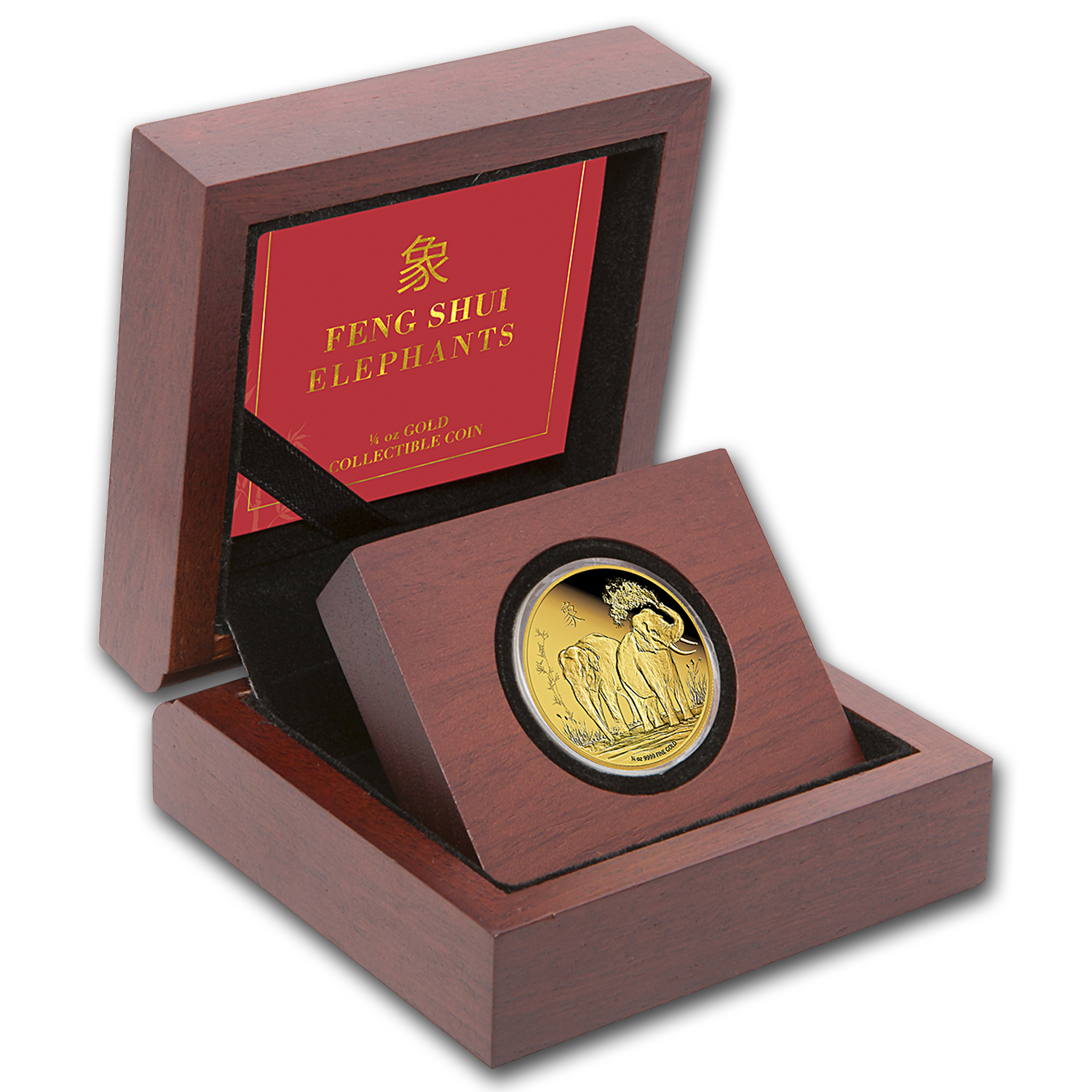 2015 Niue 1/4 oz Proof Gold $25 Feng Shui Elephant