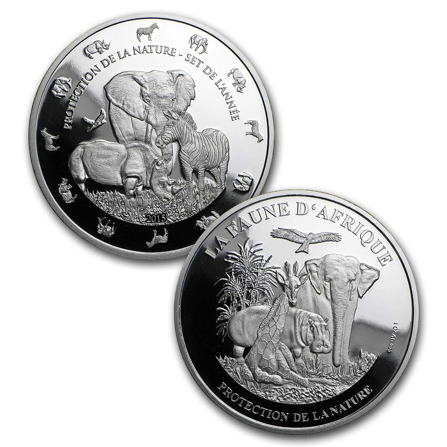 2015 Benin 1 oz Silver Protection de la Nature 4-Piece Set