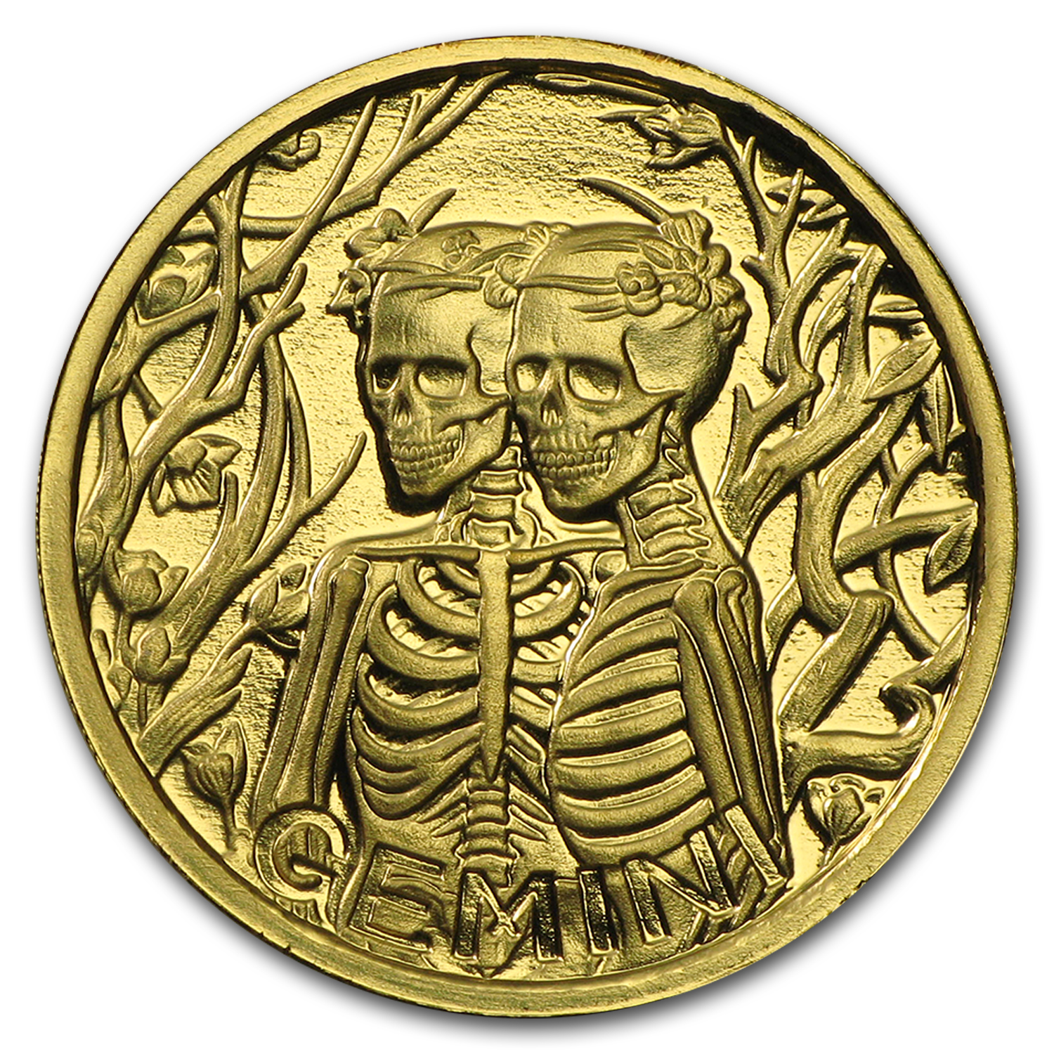 1/10 oz Gold Proof Round - Zodiac Skull Series (Gemini)