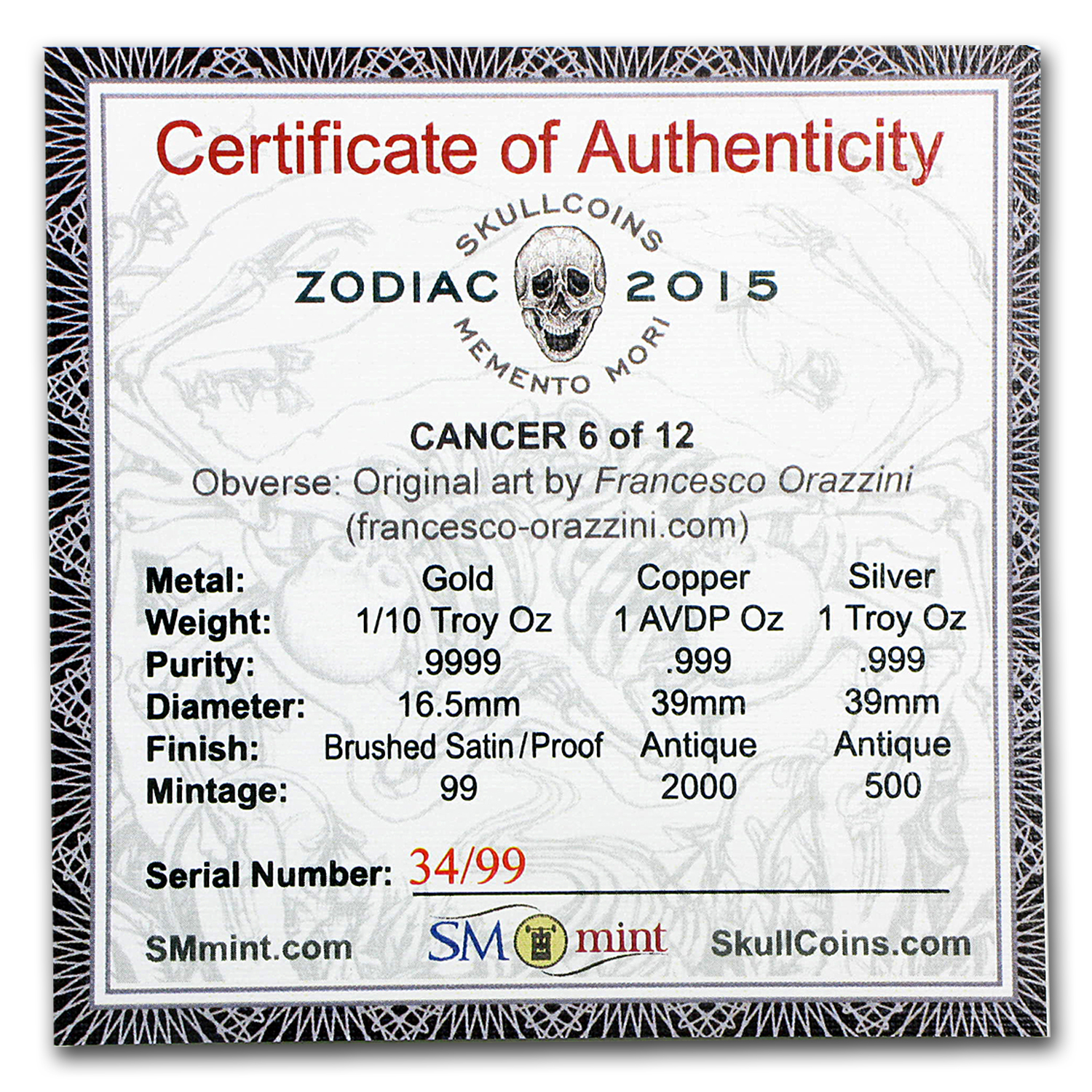 1/10 oz Gold Proof Round - Zodiac Skull Series (Cancer)