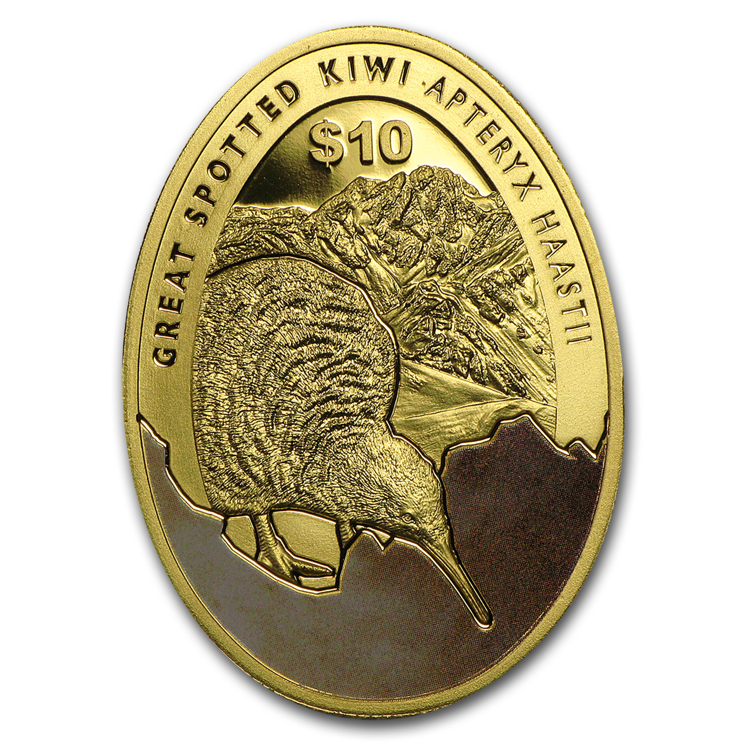 2016 New Zealand 1/4 oz Proof Gold $10 Kiwi Egg-Shaped Proof Coin