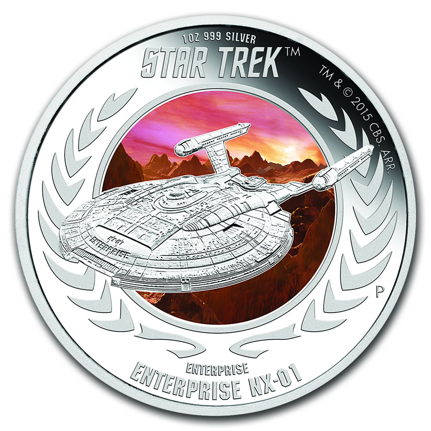 2015 Tuvalu 1 oz Silver Star Trek Enterprise NX-01 Proof (Color)