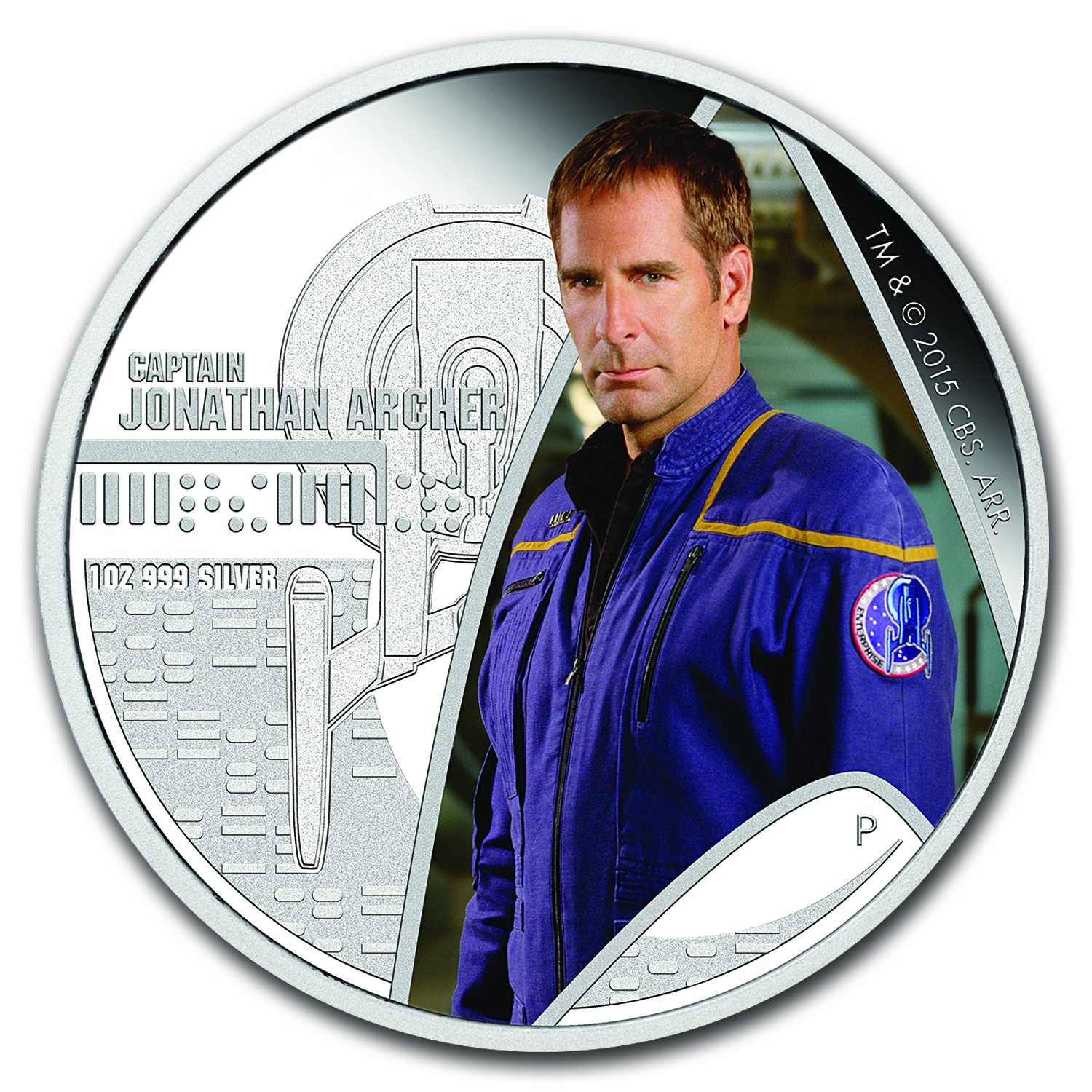 2015 Tuvalu 1 oz Silver Star Trek Colorized Capt. Archer Proof