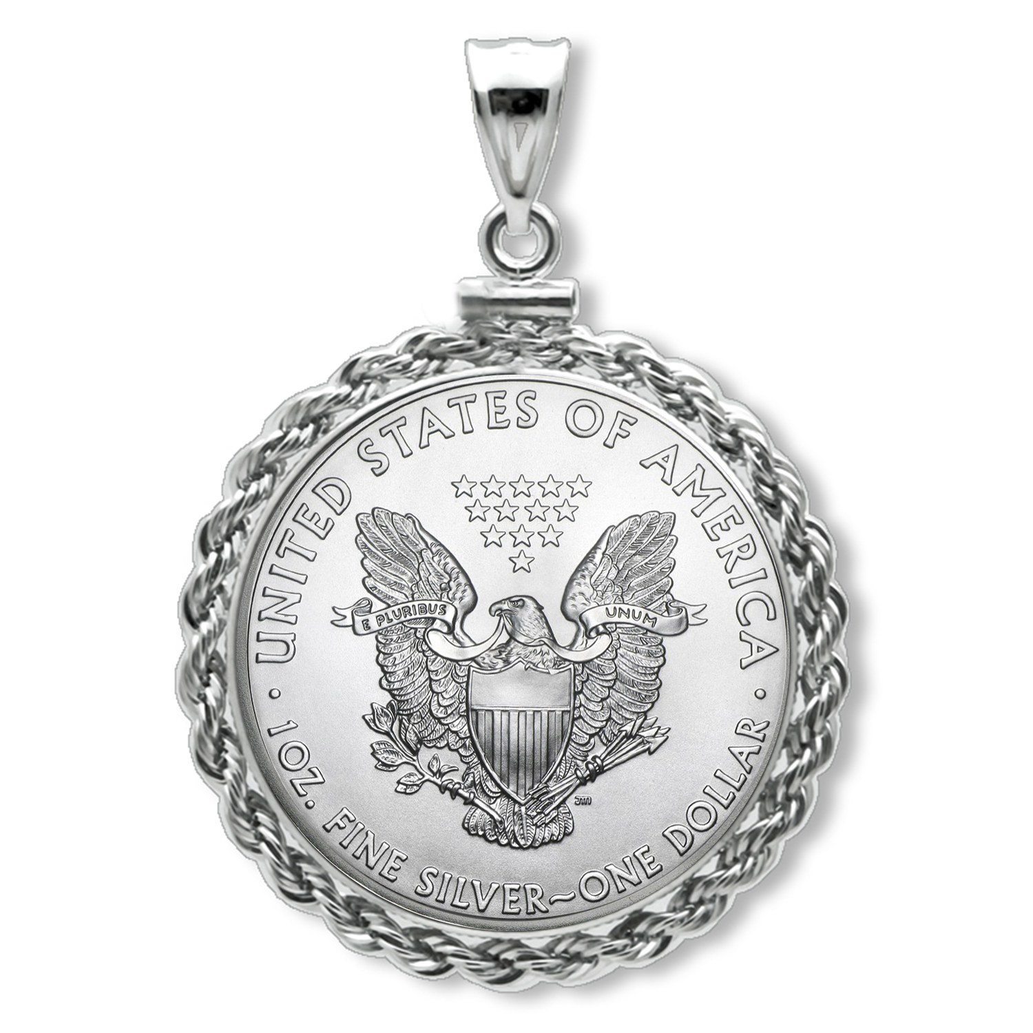 2016 1 oz Silver Eagle Pendant (Rope-ScrewTop Bezel)