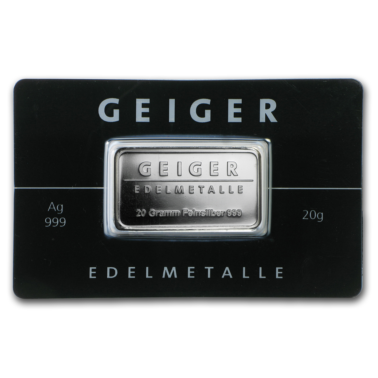 20 gram Silver Bar - Geiger Edelmetalle (Mirror Finish/In Assay)